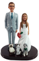 Classic Groom and Bride Figurines with cats and a dog