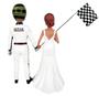 Custom Race Car Driver Groom and Racing Flag Bride Wedding Cake Topper