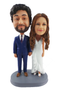 Custom Cute Bride and Groom Holding Hands Wedding Cake Topper