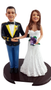 Custom US Army Mess Uniform Wedding Cake Topper with Classic Bride