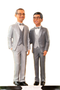 Custom LGBTQ+ Grooms in Tuxedos Arm Around Wedding Cake Topper