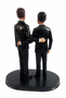 Custom LGBTQ+ Grooms Arms Around Wedding Cake Topper