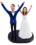 Custom We Did It Arms Up Wedding Cake Topper