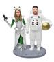 Custom Space Alien Bride and Astronaut Groom Wedding Cake Topper