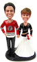 Custom NHL hockey wedding bobble heads - Blackhawks