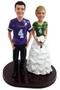 Football wedding cake topper with custom jerseys