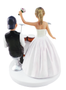 Dancing bride with drummer groom wedding cake topper
