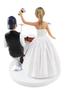 Dancing bride with drummer groom wedding cake topper