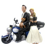 100% Design-your-own Set of Classic Wedding Cake Toppers With Motorcycle