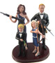 Zombie Hunting Family Custom Wedding Cake Topper