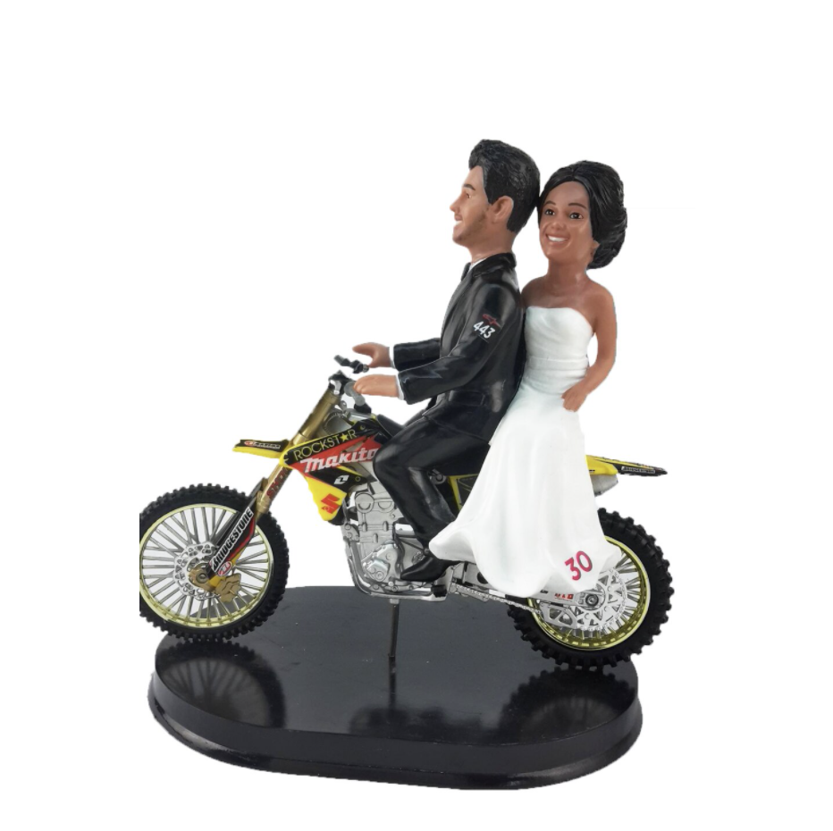Custom Dirt Bike Riding Bride and Groom Wedding Cake Topper