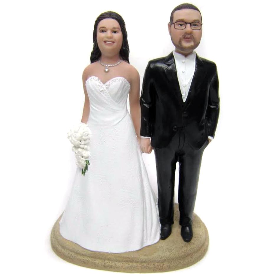 Custom Full figurine Bride and Husky Groom Wedding Cake Topper Style