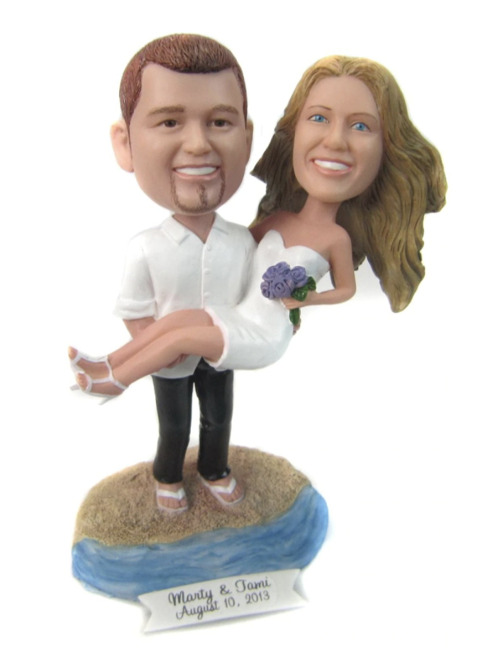 Custom Groom Carrying His Bride at the Beach Wedding Cake Topper