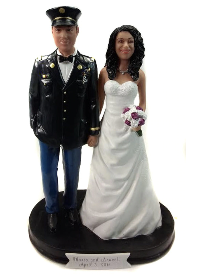 Custom Army Officer Classic Wedding Cake Topper