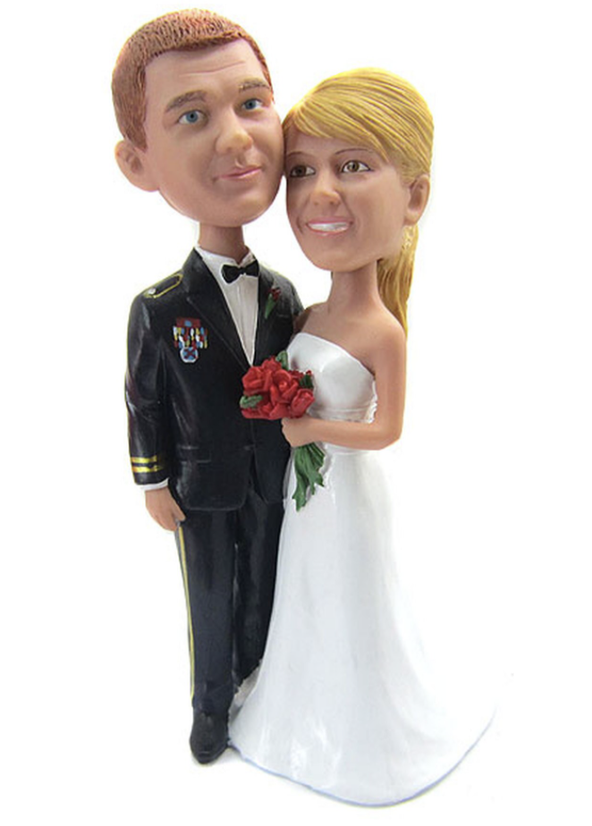 Custom Army Officer Wedding Cake Topper