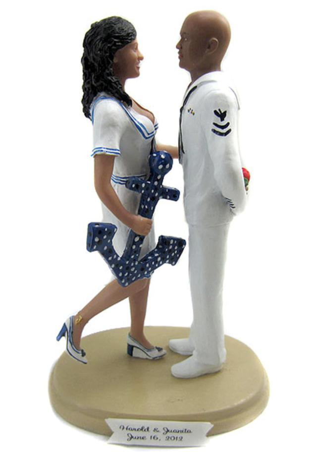 Custom Navy Sailor Pin-up Wedding Cake Topper