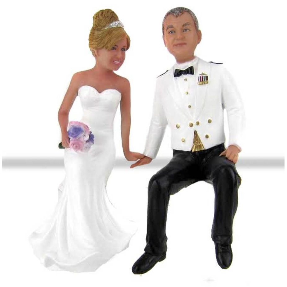 Custom Air Force Groom Sitting on Cake Wedding Cake Toppers