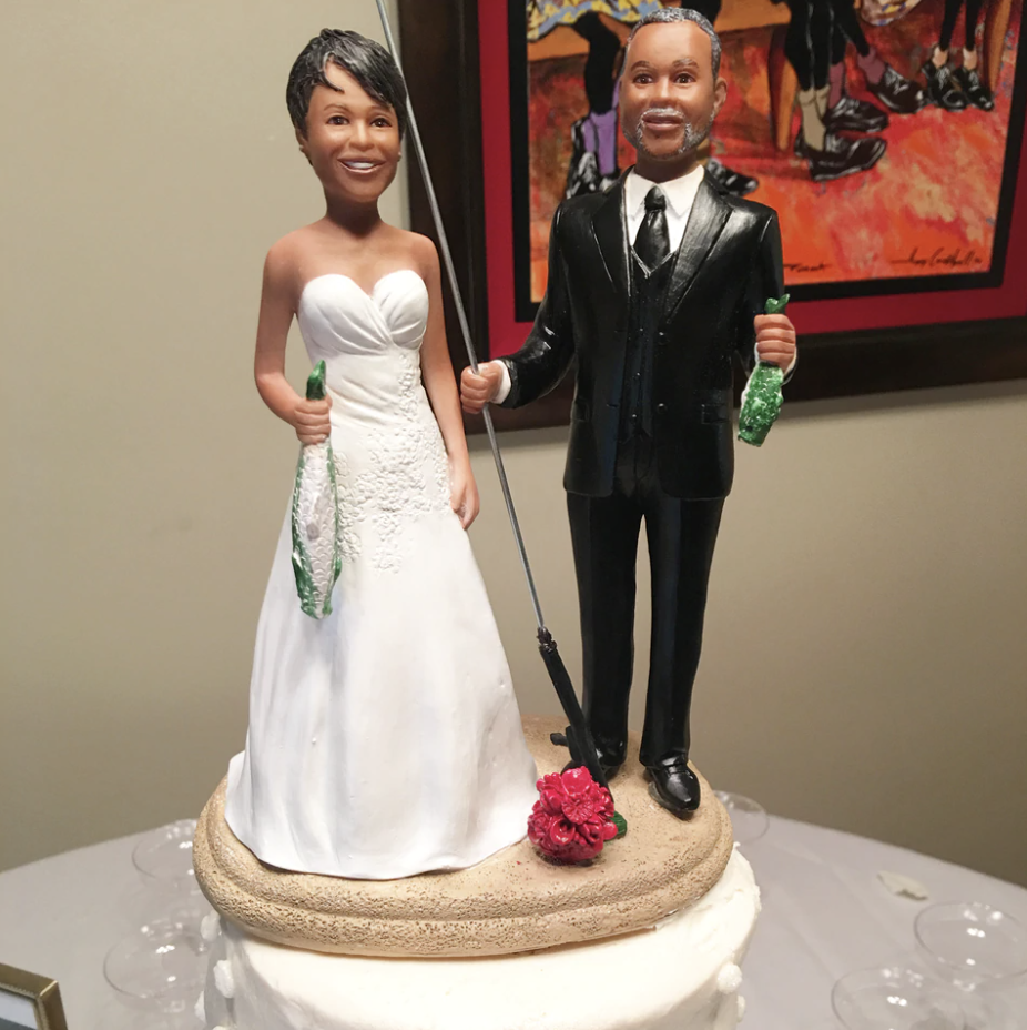 Custom Classic Fishing Bride and Groom Wedding Cake Topper