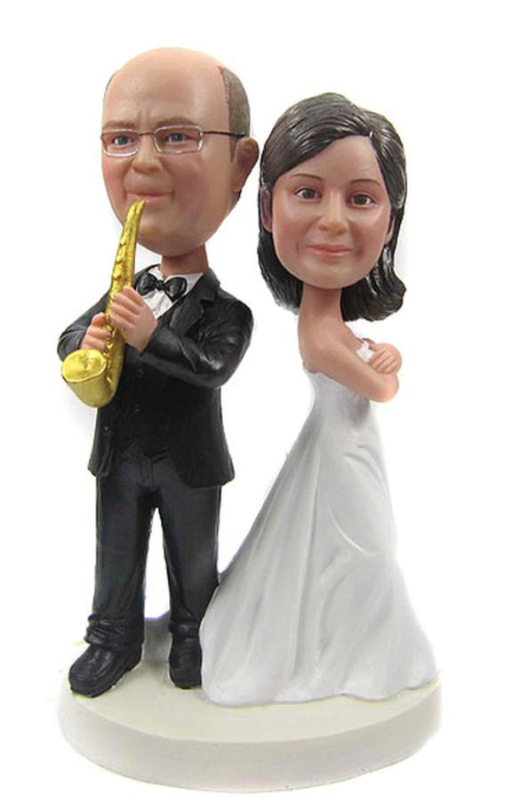 Custom Saxophone Groom Wedding Cake Toppers