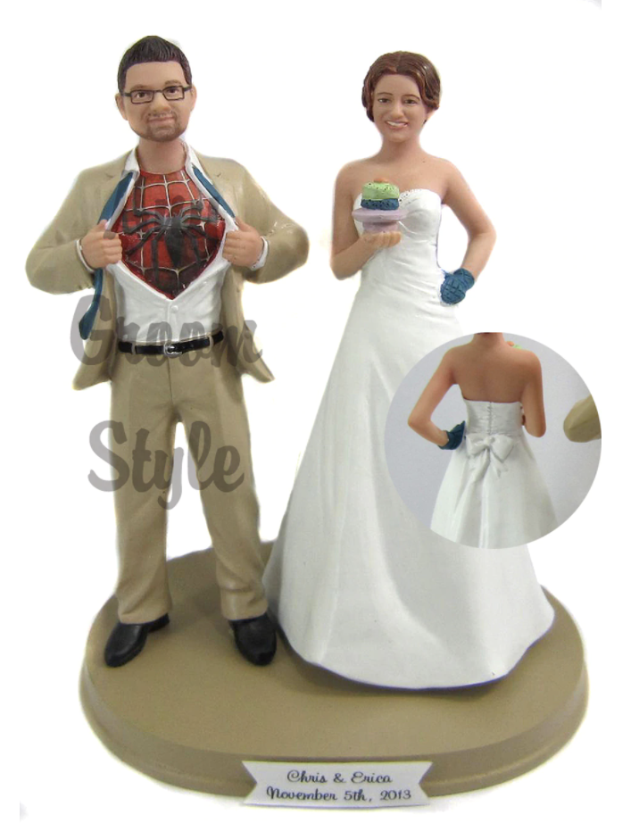 Custom Baking Bride w/ Mix & Match Groom Wedding Cake Topper