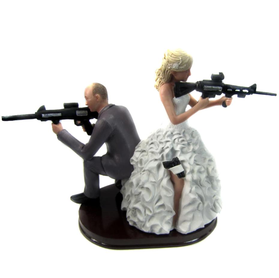 Custom Armed Couple Wedding Cake Topper