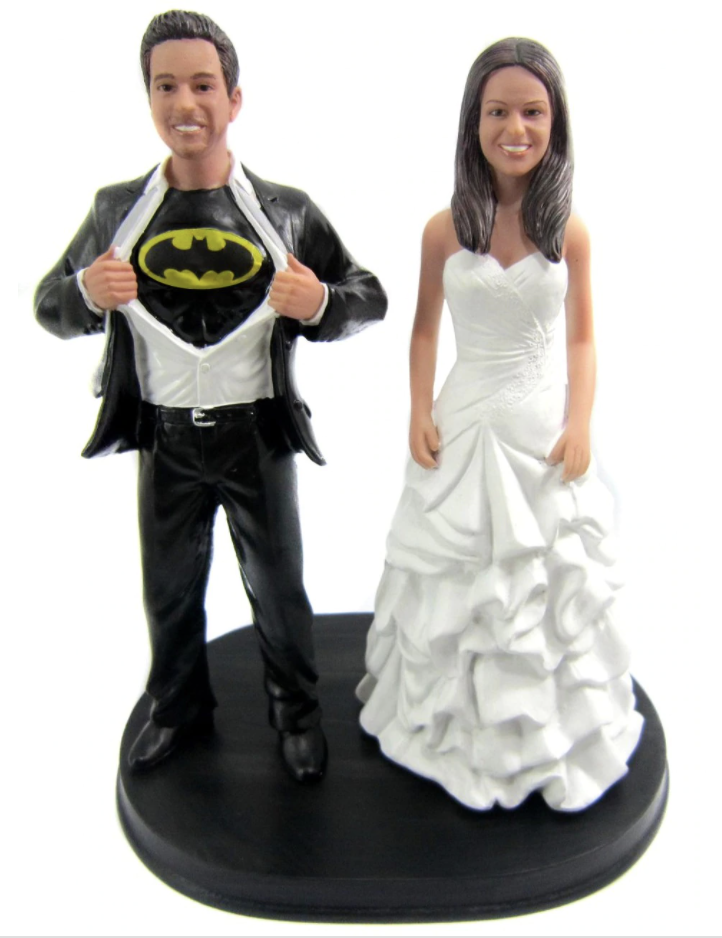 Custom Batman Wedding Cake Topper w/Mix & Match Bride
