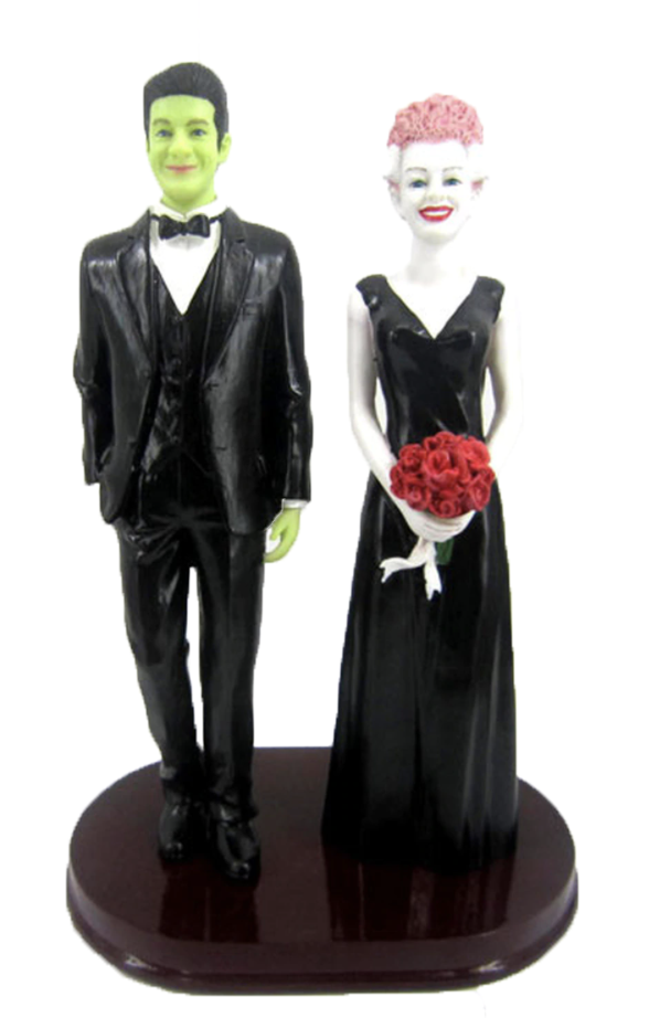 Custom Frankenstein and Bride Wedding Cake Topper