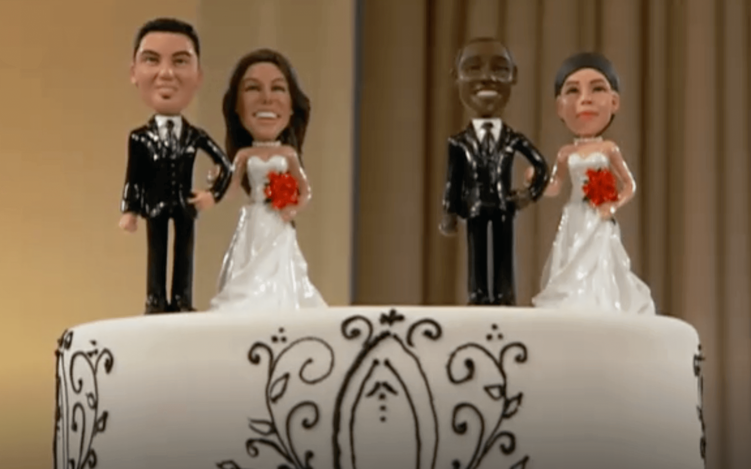 wedding cake toppers from Tough Love Couples TV show