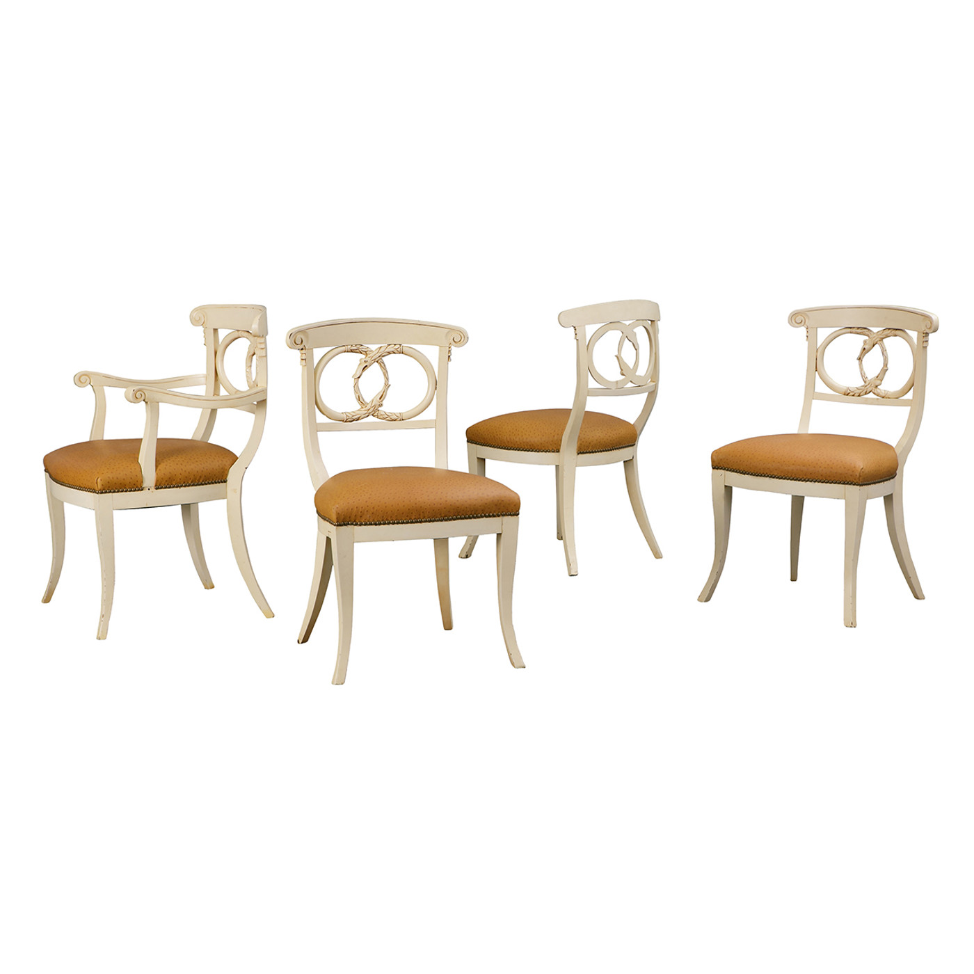 Carved Serpent Morif Chairs (S/4, 1-A & 3-S)