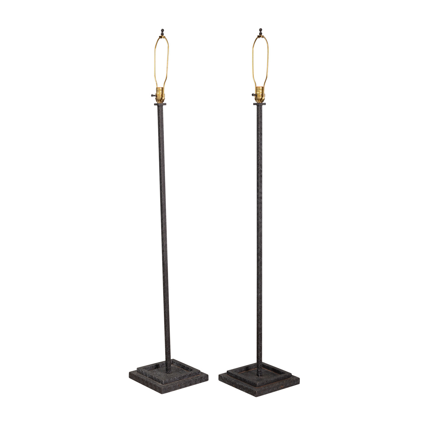 Iron Floor Lamps & Shades - PAIR