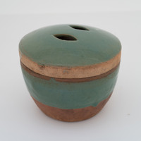 Vintage Celadon Bowl with Lid #4