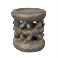Vintage Carved Wood African Drum Table/Stool #1