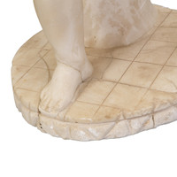 Carved Marble Figure of Putto with Cat