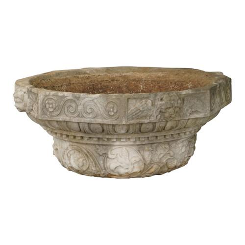 Carved Marble Garden Urn, 19th c.