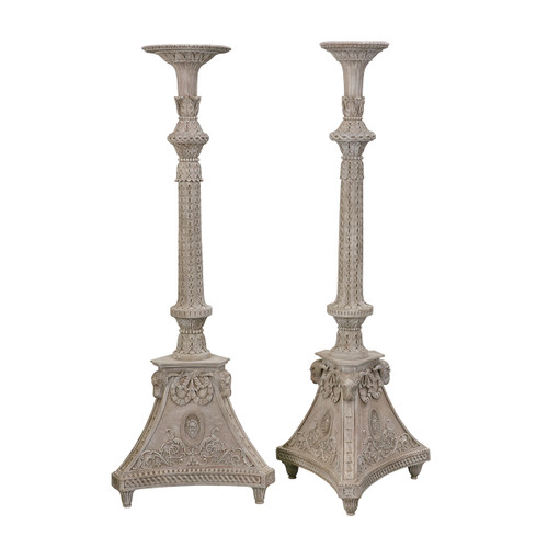 Finely Carved Torcheres (Pedestals/Stands) - PAIR
