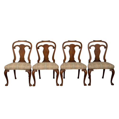 Antique George II Beech & Walnut Dining Chairs Circa 1890 - S/4