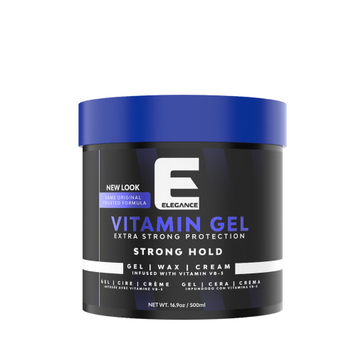 vitamin hairstyling gel with strong hold.