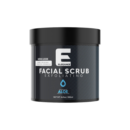Elegance facial scrub with Aloe Vera extract.