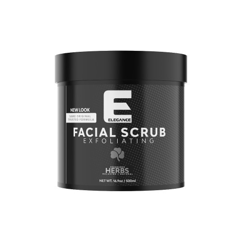 Elegance facial scrub with mixed herbs.