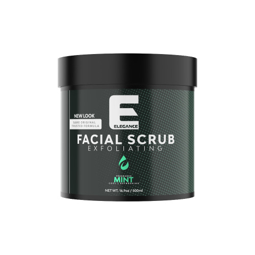 Facial scrub with mint extract.