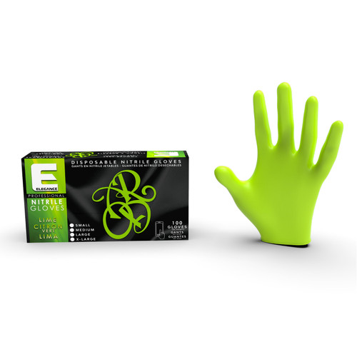 Lime green color gloves for stylist and barbers.