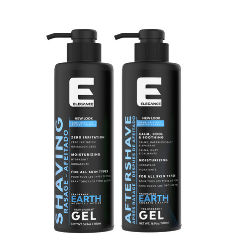 Aftershave and clear shaving gel for barbers.