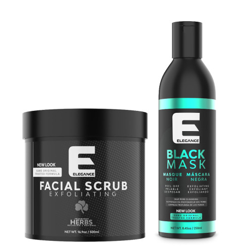 Facial treatment bundle includes facial scrub and black mask.