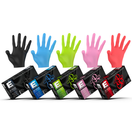 Barber and stylist nitrile gloves in different colors.