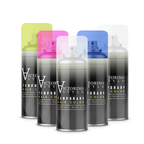 Temporary hairspray color, assorted color, white, yellow, pink, blue.