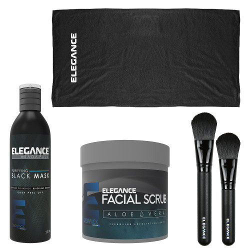 Professional facial kit includes black facial mask, facial scrub, brushes and towel.