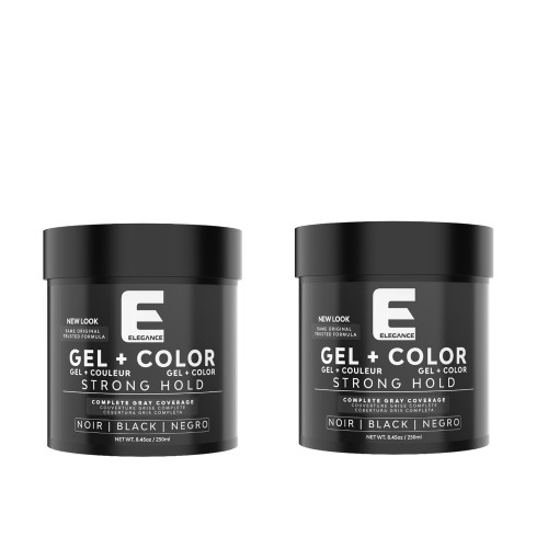 Hair styling gel plus black color in a 2 pack to cover gray or white hair.
