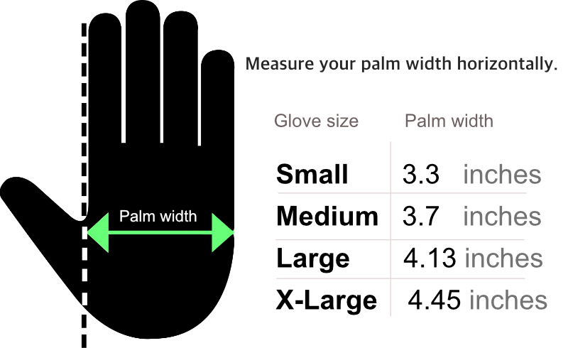 barber gloves size chart