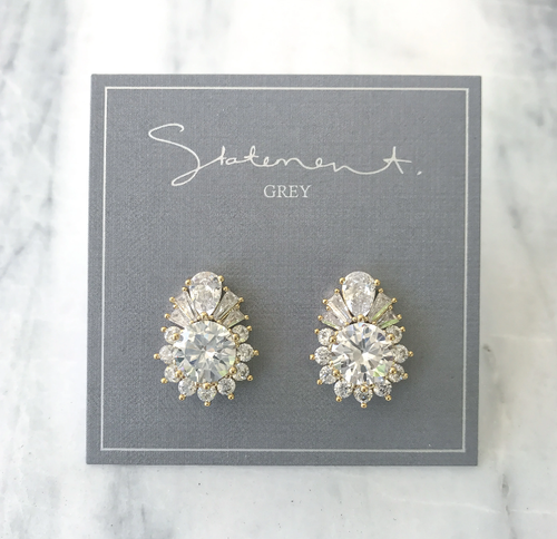 Statement Grey Pia Gold Earrings