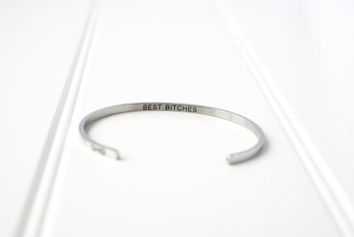 best bitches glass house goods silver bracelet